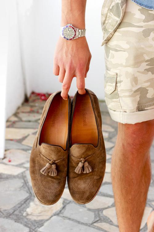 kesäpukeutuminen - loaferit & rolex
