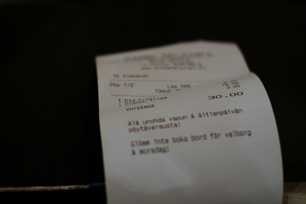 Ravintola Sinne Helsinki - lasku