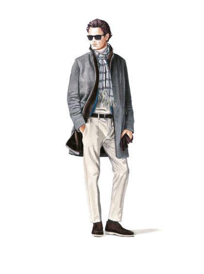 Loro Piana fw15 - harmaa päällystakki ja valkoiset housut