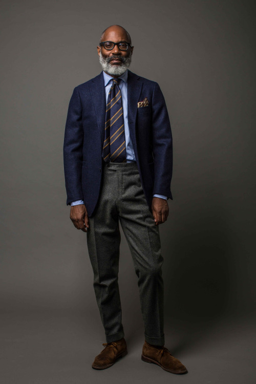 Drakes London fw15 - sininen irtotakki ja harmaat flanellit