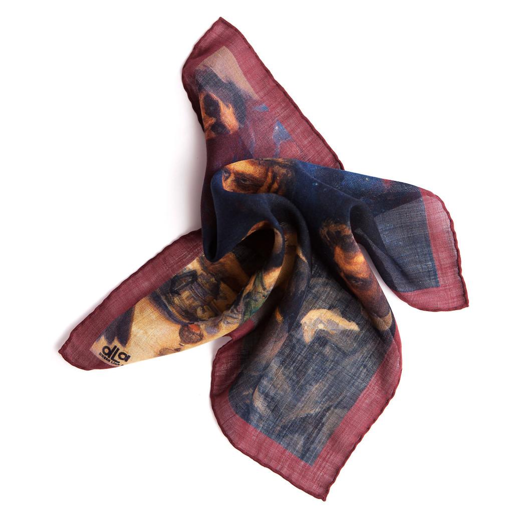 """Puku ylioppilasjuhlaan - Kuvioitu taskuliina voidaan taitella joko tv-foldiksi tai vain """"runtata huolettomasti"""" rintataskuun."""
